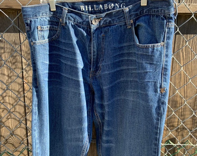 Baggy Billabong Broken in Jeans. Very cool soft and comfortable. Size 36 x 32 Free Priority Mail Shipping in the USA