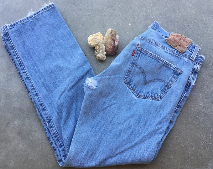 Men's Vintage Levi's 501 Jeans, Straight Fit, Stonewashed & Super Distressed. Size 36 x 34. Free Priority Mail Shipping in the USA