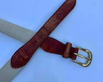 Vintage Coach Genuine Leather, Woven Canvas and leather belt. Free Priority Mail Shipping