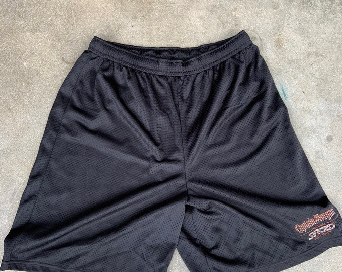 Captain Morgan Spiced Rum athletic shorts. Men's size large. Free shipping.