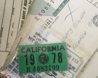 Vintage New Old Stock California License Plate sticker, not reprint. All original. 1978 California Motorcyle License Plate Sticker