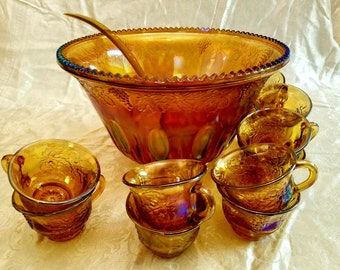Vintage iridescent Carnival Glass Punch Bowl with 12 matching cups. Harvest Grape design Free Shipping