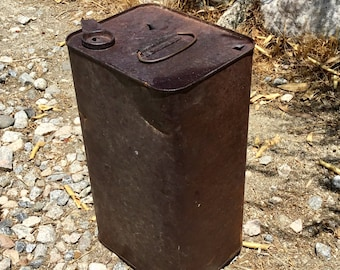 Rusty metal can found in railroad camp in the middle of the California Desert