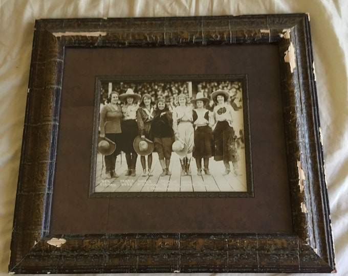 Vintage framed 8 by 10 photo of famous cowgirls from the early 1900's. Very cool wall art. Free shipping