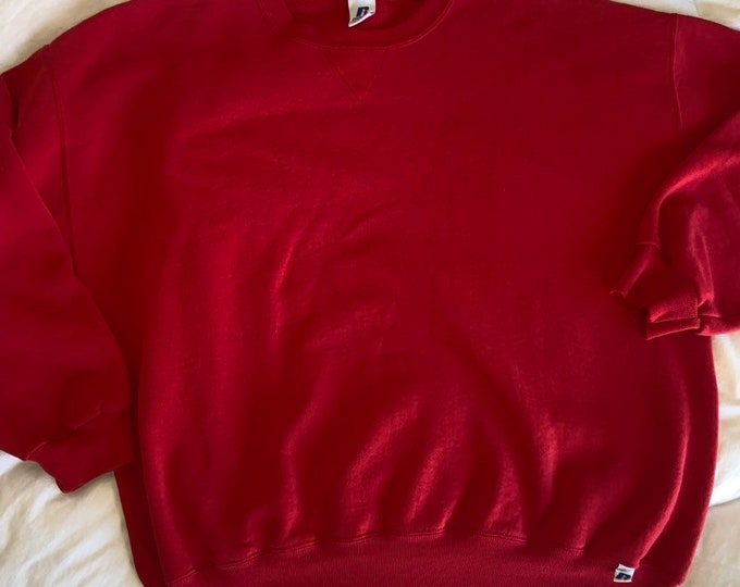 Vintage 1990's Russell baggy oversized crew neck red sweatshirt in size extra extra large. Free shipping