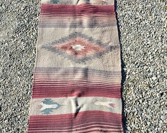 Vintage old Native American rug. 5 feet by 2 feet. Includes Free Shipping.