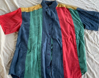 Vintage 1990s Structure Silk colorful shirt like Fresh Prince of Bel Air made famous. Free Shipping