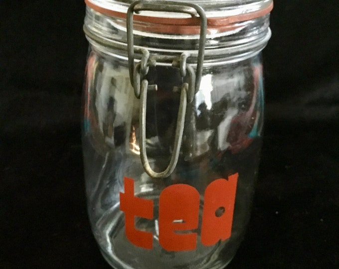 Vintage Clear Glass Tea Jar With Wire Hinged Closure, Free Shipping
