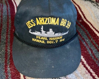 Vintage 1990s USS Arizona BB 39 Pearl Harbor Hawaii Dec, 7 1941 Hat. Free Shipping