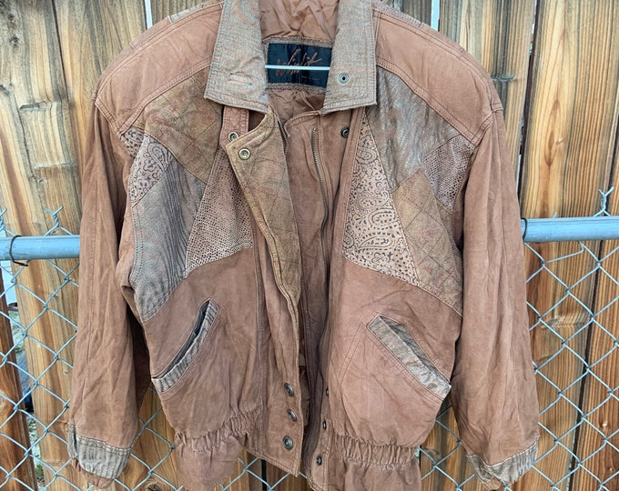 Vintage 1980s Brown leather and Suede jacket. Free shipping