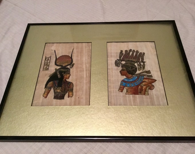 Vintage 1980s Handpainted Egyptian art on papyrus, with gold paint framed in great condition