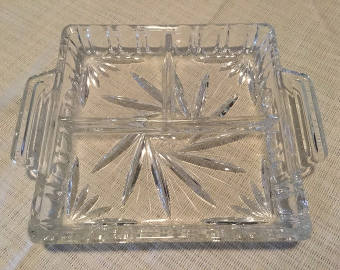 Vintage 6 1/4 inch Square Tri-section Cut Lead Crystal Pinwheel Design Serving/Relish Dish/Tray