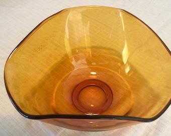 Vintage Amber Glass Salad/Fruit Bowl