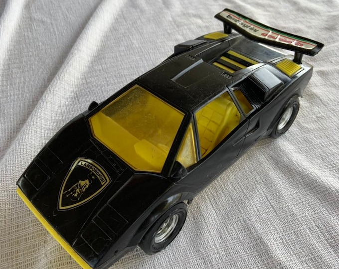 Vintage 1980s Lamborghini Countach toy car by Tootsie. Free shipping