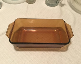 1980s Anchor Hocking Amber Glass meatloaf and bread bakeware dish. Free Priority Mail Shipping