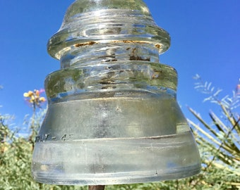 Glass Insulator Hemingray - 45 Clear glass antique railroad telegraph electrical pole insulator. Free shipping. Pre drilled available