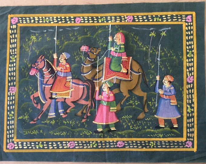 Miniature Silk Painting from India with 24 karat Gold Paint