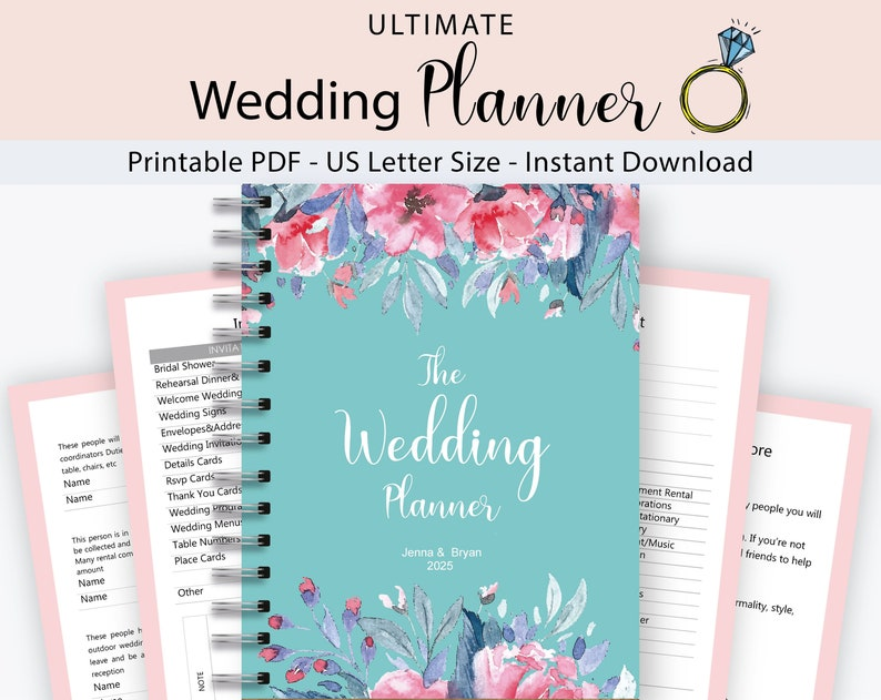 Wedding Planner Printable, Wedding Binder Template, Wedding Planning Book,  Printable Wedding Planner, Engagement Gift Ideas, PDF Download