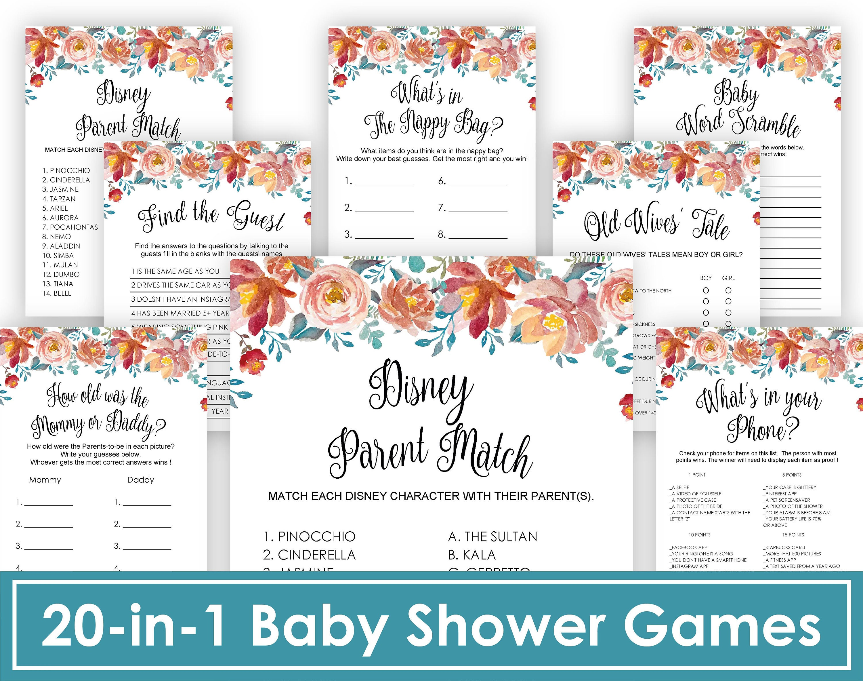 Floral Baby Shower Games Bundle Pink and Green Baby Shower Game Package  Instant download Printable Pack Girl Baby Shower Activit, Glitter
