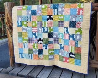 Modern kids quilt for sale / handmade quilt / gender neutral / nursery bedding / multi color / toddler quilt