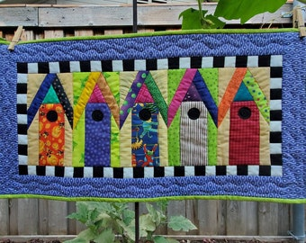 Birdhouse wall hanging handmade / bright cheerful / table topper / door hanger / whimsical / she shed