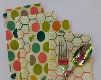 "Set of 4 cloth napkins 8"" square / organic cotton / chickens / desk, lunchbox, picnic napkins / washable reusable / farmhouse napkins"