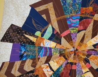 Art quilt, sunburst wall hanging, star burst, brown, purple, orange, wall decor, wall hanging, wall quilt