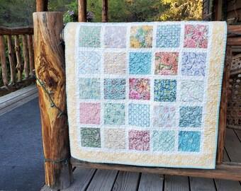 Baby girl quilt for sale  / handmade quilt / heirloom quilt / nursery bedding / crib quilt / flowers butterflies / yellow pink patchwork