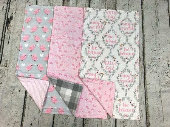 Quick Ship. Burp Cloths Piney Trees Set of Three Baby Essentials Burp Rag Baby Gift Burp Cloth Baby Shower Gift