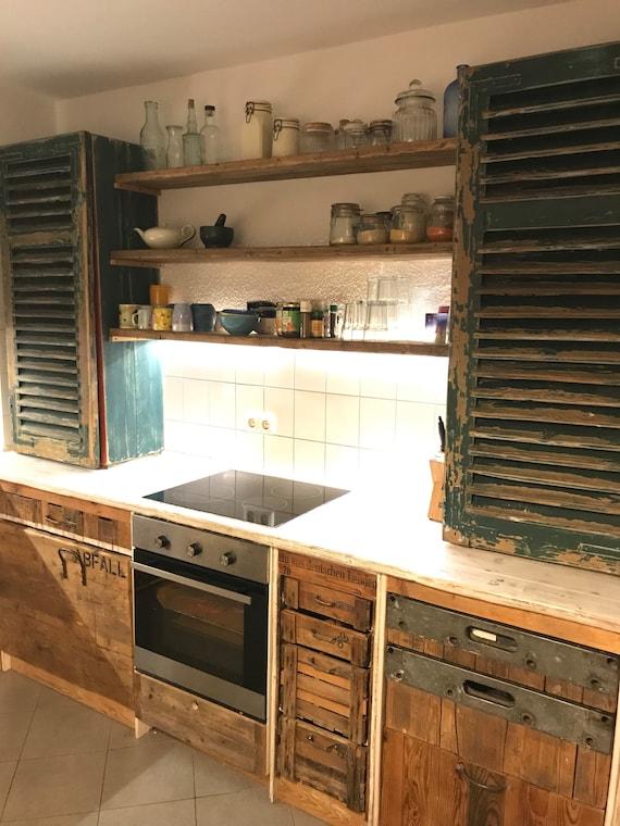 Cuisine Vintage Retro Vieux Plan De Travail En Bois En Beton Etsy