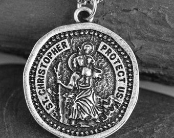 b1e92196c25 Saint Christopher Medallion Necklace 25*25mm St. Christopher Pray For Us  Medieval Orthodox Religious Patron Medal Jewelry