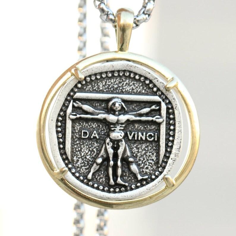 Vitruvian Necklace Man Psychology Pendant Renaissance Style Da Vinci Science Artist Jewelry Gifts