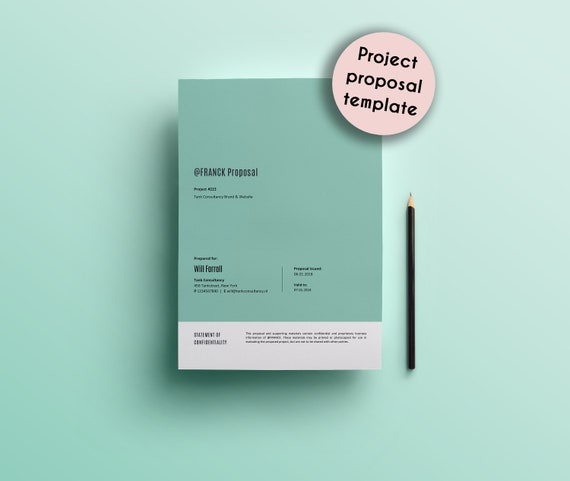 Project Proposal Template Design Layout Word Elevator Etsy