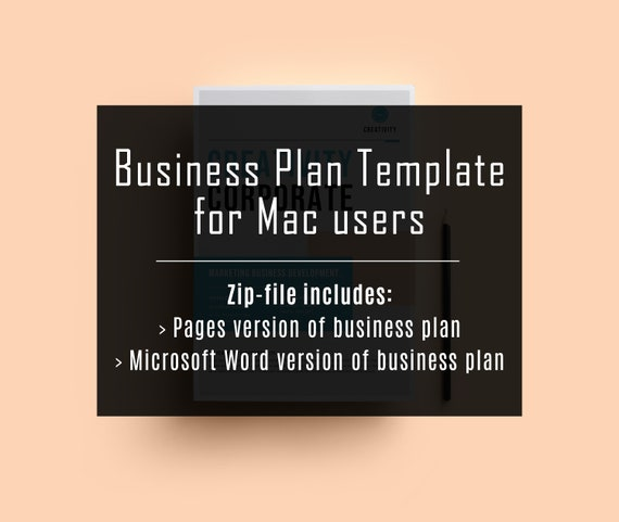 For Mac Users Business Plan Template In Pages Business Plan Template In Word Small Business Management Summary Pages Docx