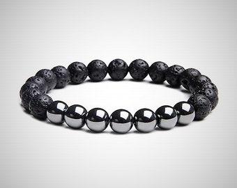 Hematite Lava Rock Bracelet Mens Jewelry Anniversary Gifts For Husband Boyfriend Men Birthday Gift Him