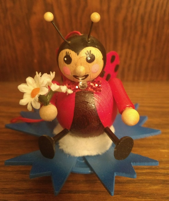 Steinbach Christmas Ornament Wooden Hand Made in Germany Vintage Ladybug Original in Box