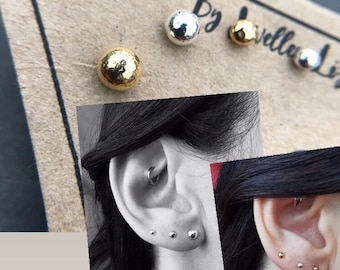 Silver Rose Gold Yellow Gold Ball Stud Earrings set of 7, Collection mix and match