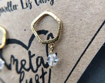 Hexagon Silver Wire Earrings, geometric earrings, Swarovski Crystals, hexagon Earrings, hexagon studs