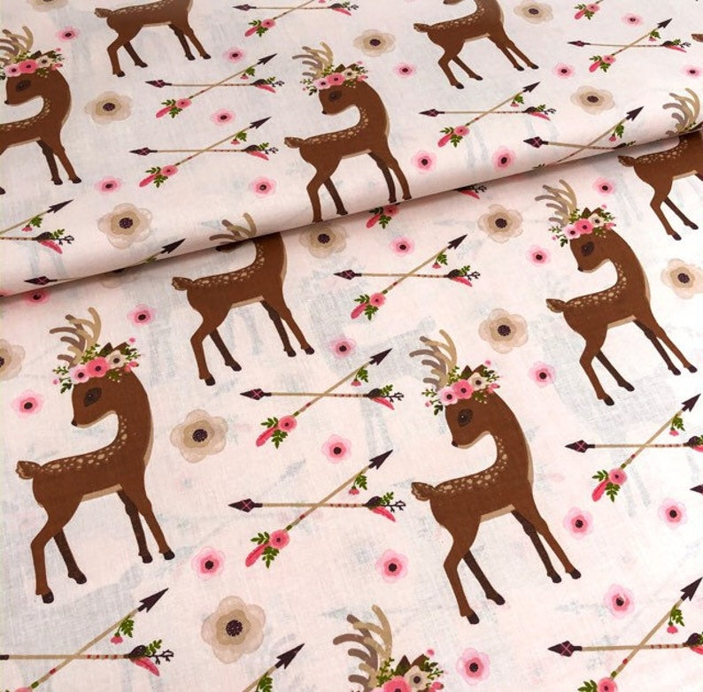 Kids Patterned fabric Pink flowers Deer fabric by the yard Deer in flowers Animals print Cotton fabric Bambi fabric Deer with baby
