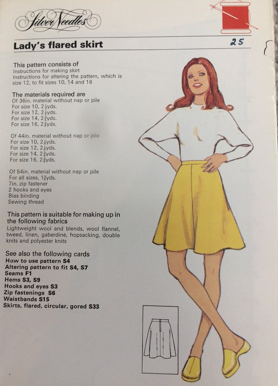 Vintage Sewing Pattern Ladys Flared Skirt Size 12 Etsy