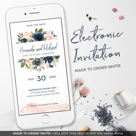 Electronic Wedding Invitations Electronic Invitations Whatsapp Wedding Invitation Save The Date Marriage Invitations Blush Navy Gold