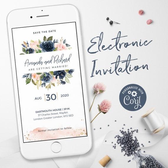 Electronic Wedding Invitations Electronic Invitations Whatsapp Wedding Invitation Save The Date Marriage Invitations Blush Navy Gold