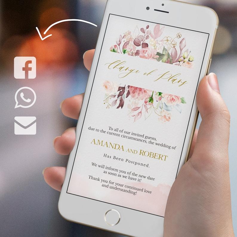 postponed wedding digital invitation electronic invitation