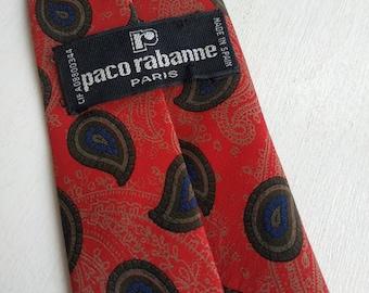 Men/'s Fashion Necktie PACO RABANNE VINTAGE Paisley necktie Burgundy necktie.