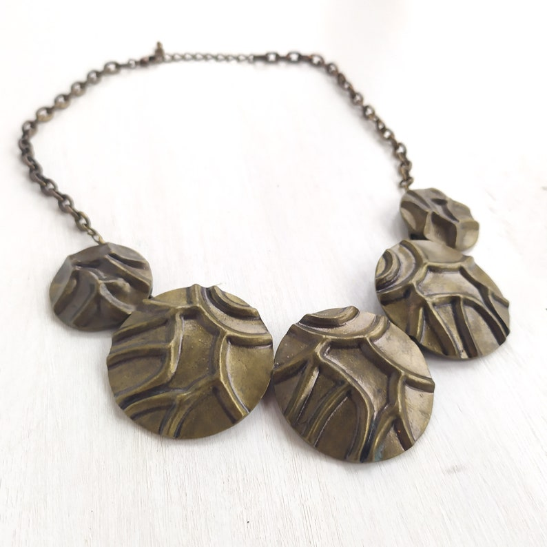 Brass Disc Necklace Circle Coin Statement Necklace 20 inches Bib Necklace.