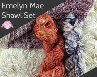 Emelyn Mae Shawl kits; Hand Dyed Yarn; Sock Base; Orange, Black Coral Yarn Kit; Yarn Sock Kit; Shawl Kit; Monarch and Marigold