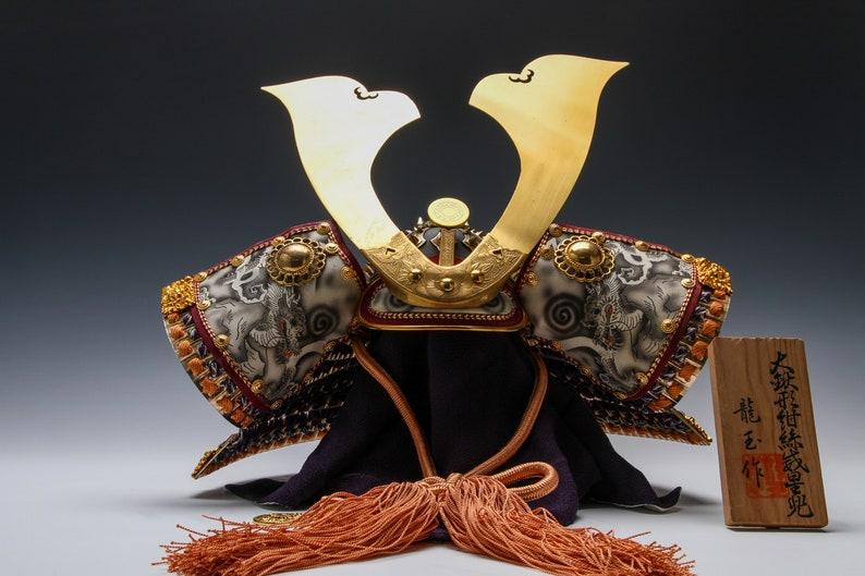 Old Vintage Great Samurai Kabuto Helmet -White Dragon- National Treasure  Style