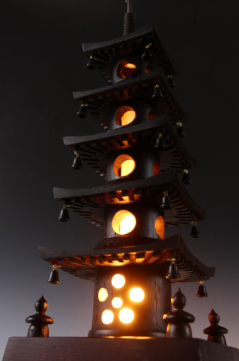 Japanese Vintage Wooden Figure Five Story Pagoda Lamp \u4e94\u91cd\u5854