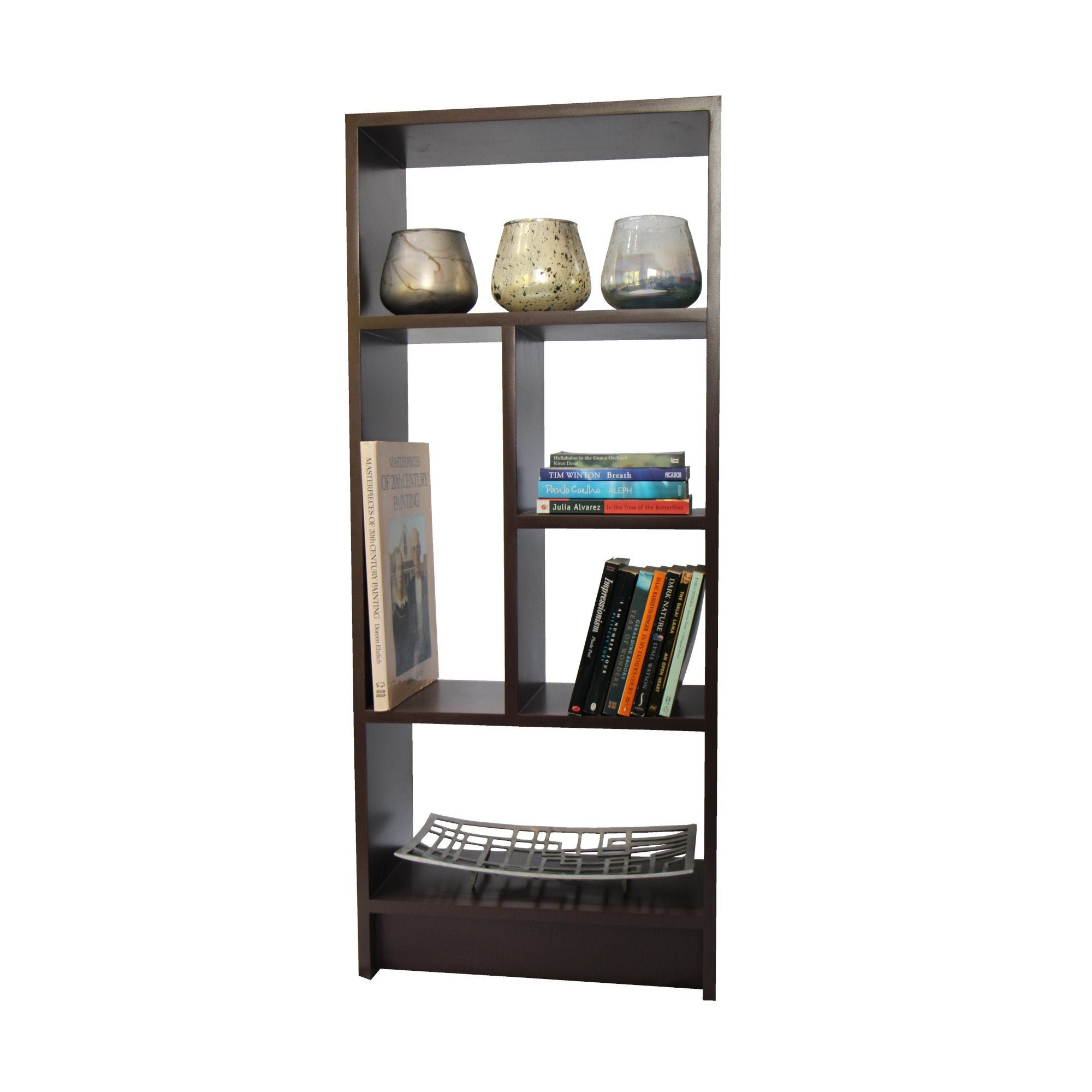 Braumhaus Modern Narrow Bookcase Book Shelf Interesting Asymmetrical Contemporary Unusual Free Shipping