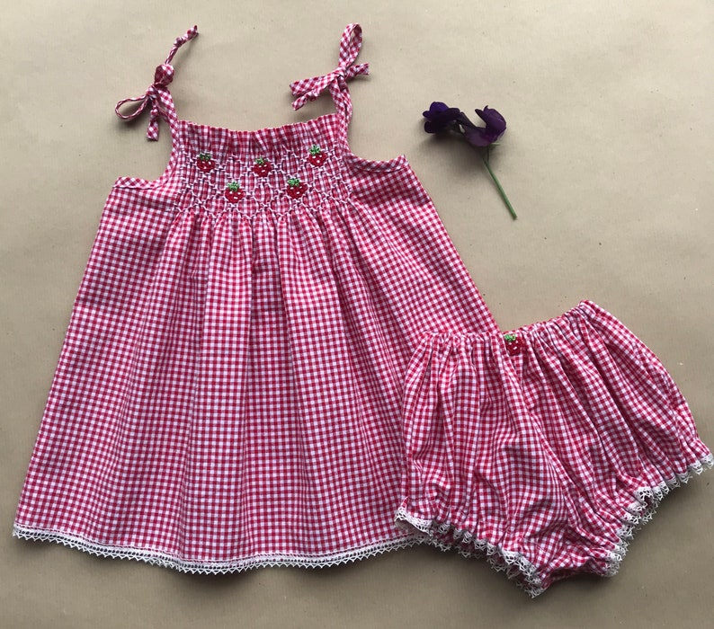 0dec0a1fe0b Gingham Strawberries Smocked baby dress and panties